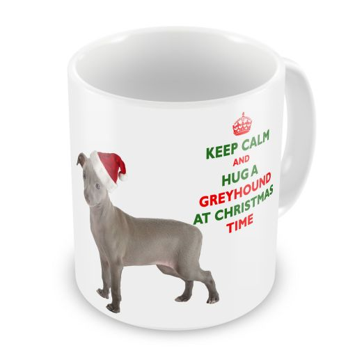 Christmas Keep Calm And Hug A Greyhound Novelty Gift Mug
